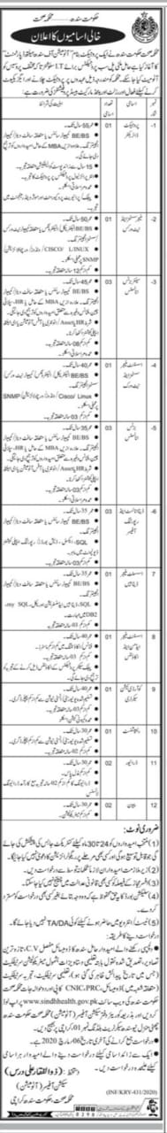 Faculty Required for the Project of Automation of Sindh ...